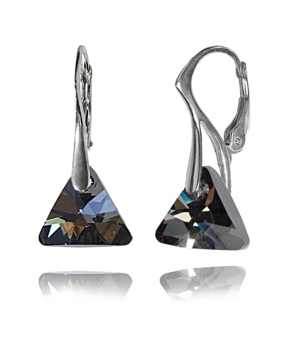 Stříbrné náušnice Swarovski Triangle 12 mm černě stříbřité