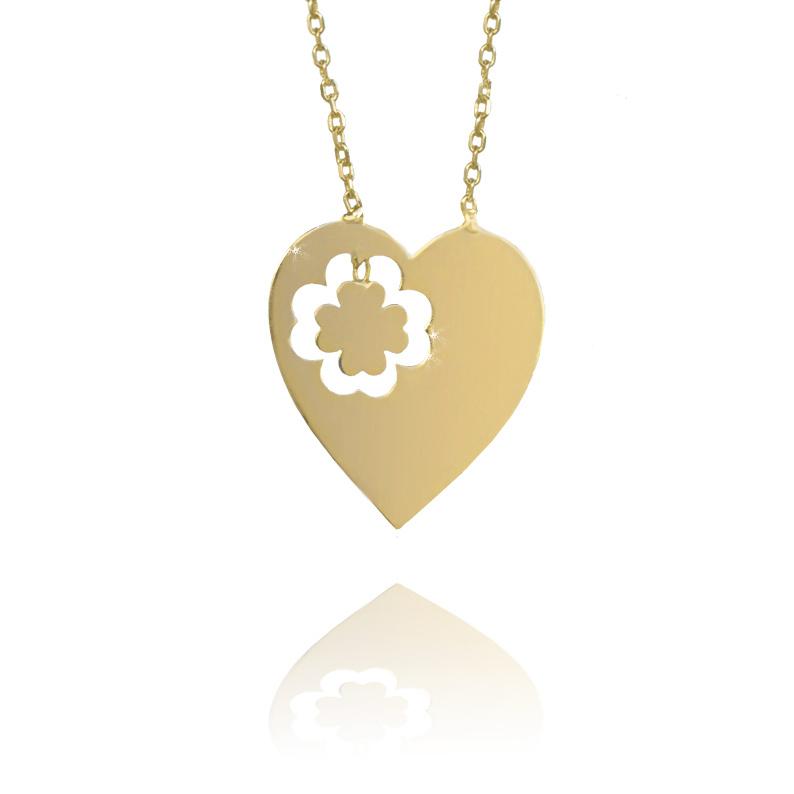 Zlatý náhrdelník - srdce se čtyřlístkem