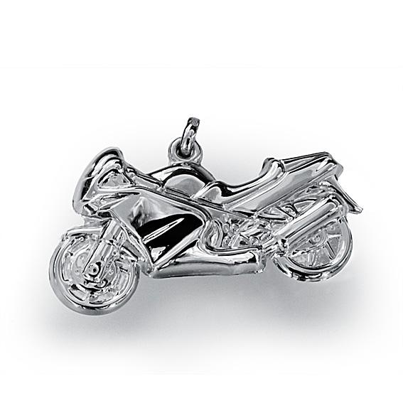 Stříbrný přívěsek - silniční motorka