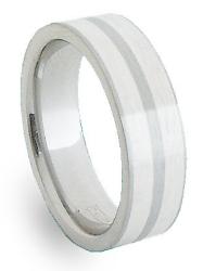 Snubní prsten ocel + stříbro ZAG066
