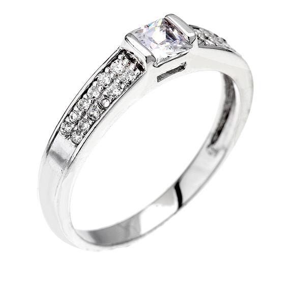 Stříbrný prsten s čtvercovým zirkonem