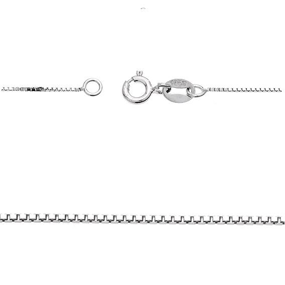 Jemný hranatý stříbrný řetízek rhodiovaný 45 cm