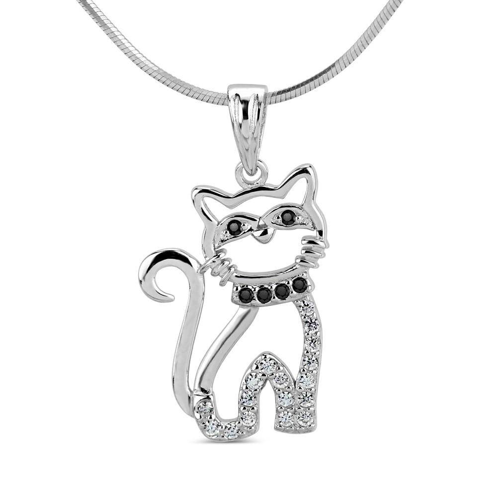 PRIA Stříbrný přívěsek kočka SHZP1103