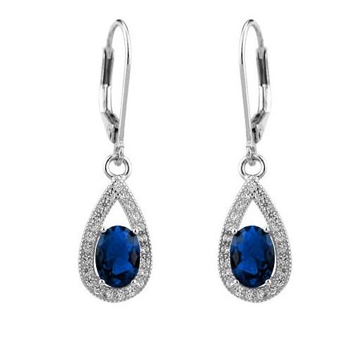 PRIA Stříbrné náušnice visací - safírově modrá JJJE0223-B