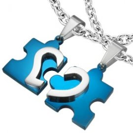 Přívěsky pro dva - puzzle se srdíčkem modré