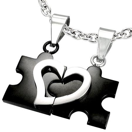 Přívěsky pro dva - puzzle černé