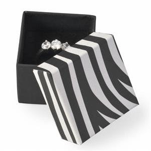 Krabička na šperky černobílá, 50x50 mm