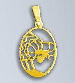 Zlatý přívěsek - znamení Beran v oválu