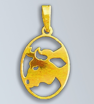 Zlatý přívěsek - znamení Býk v oválu