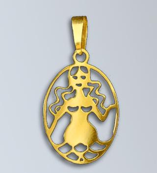 Zlatý přívěsek - znamení Panna v oválu